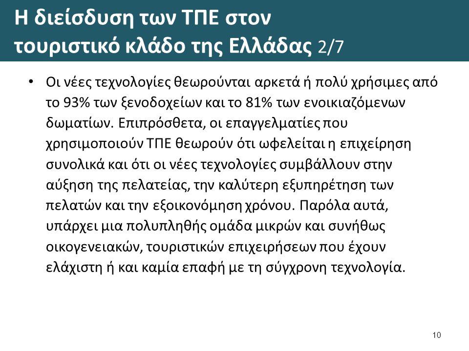 Η διείσδυση των ΤΠΕ στον τουριστικό κλάδο της Ελλάδας 2/7 Οι νέες τεχνολογίες θεωρούνται αρκετά ή πολύ χρήσιμες από το 93% των ξενοδοχείων και το 81% των ενοικιαζόμενων δωματίων.