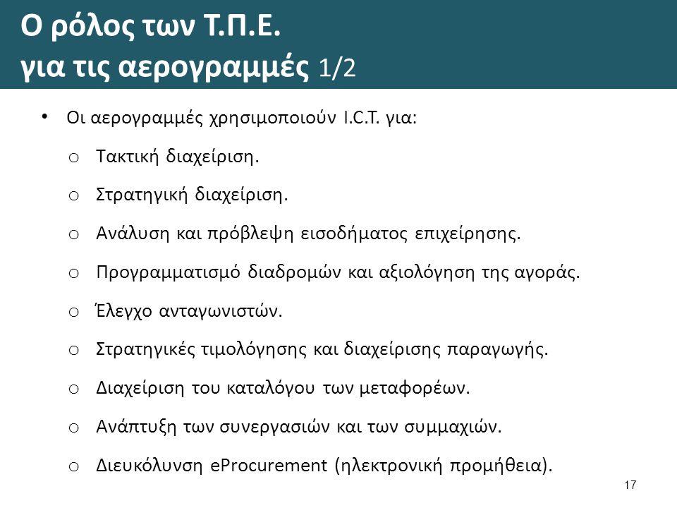 Ο ρόλος των Τ.Π.Ε. για τις αερογραμμές 1/2 Οι αερογραμμές χρησιμοποιούν I.C.T.
