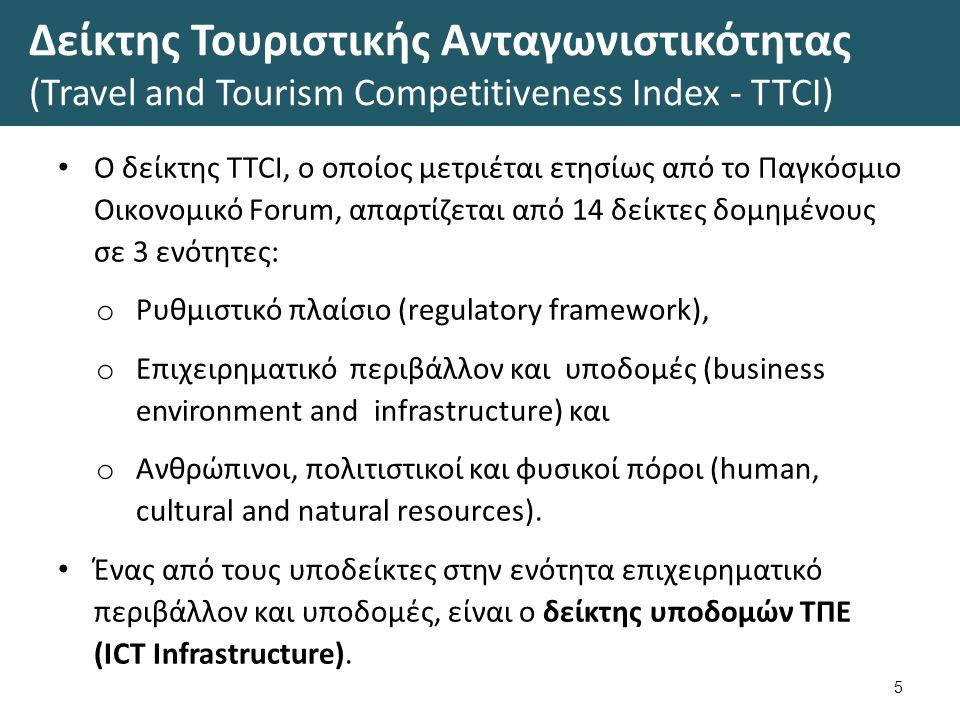 Δείκτης Τουριστικής Ανταγωνιστικότητας (Travel and Tourism Competitiveness Index - TTCI) Ο δείκτης TTCI, ο οποίος μετριέται ετησίως από το Παγκόσμιο Οικονομικό Forum, απαρτίζεται από 14 δείκτες δομημένους σε 3 ενότητες: o Ρυθμιστικό πλαίσιο (regulatory framework), o Επιχειρηματικό περιβάλλον και υποδομές (business environment and infrastructure) και o Ανθρώπινοι, πολιτιστικοί και φυσικοί πόροι (human, cultural and natural resources).