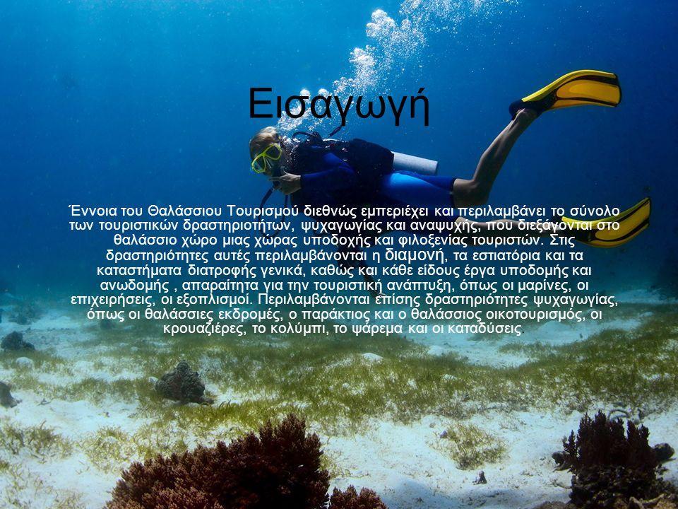 Εισαγωγή Έννοια του Θαλάσσιου Τουρισμού διεθνώς εμπεριέχει και περιλαμβάνει το σύνολο των τουριστικών δραστηριοτήτων, ψυχαγωγίας και αναψυχής, που διεξάγονται στο θαλάσσιο χώρο μιας χώρας υποδοχής και φιλοξενίας τουριστών.