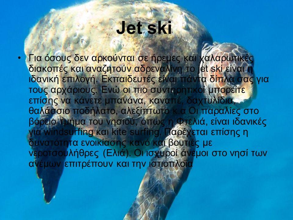 Jet ski Για όσους δεν αρκούνται σε ήρεμες και χαλαρωτικές διακοπές και αναζητούν αδρεναλίνη το jet ski είναι η ιδανική επιλογή.