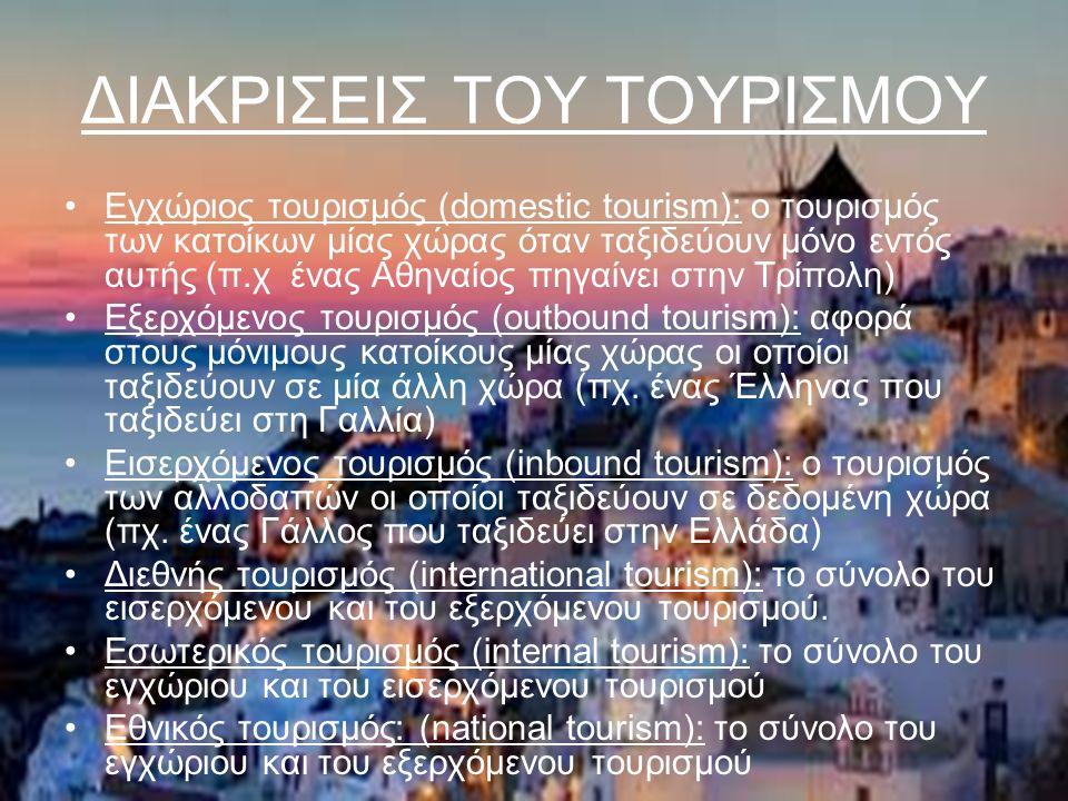 ΔΙΑΚΡΙΣΕΙΣ ΤΟΥ ΤΟΥΡΙΣΜΟΥ Εγχώριος τουρισμός (domestic tourism): ο τουρισμός των κατοίκων μίας χώρας όταν ταξιδεύουν μόνο εντός αυτής (π.χ ένας Αθηναίος πηγαίνει στην Τρίπολη) Εξερχόμενος τουρισμός (outbound tourism): αφορά στους μόνιμους κατοίκους μίας χώρας οι οποίοι ταξιδεύουν σε μία άλλη χώρα (πχ.