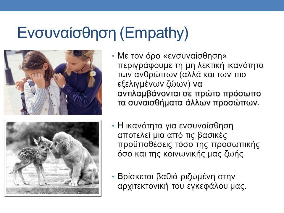 Ενσυναίσθηση (Empathy) να αντιλαμβάνονται σε πρώτο πρόσωπο τα συναισθήματα άλλων προσώπων Με τον όρο «ενσυναίσθηση» περιγράφουμε τη μη λεκτική ικανότητα των ανθρώπων (αλλά και των πιο εξελιγμένων ζώων) να αντιλαμβάνονται σε πρώτο πρόσωπο τα συναισθήματα άλλων προσώπων.