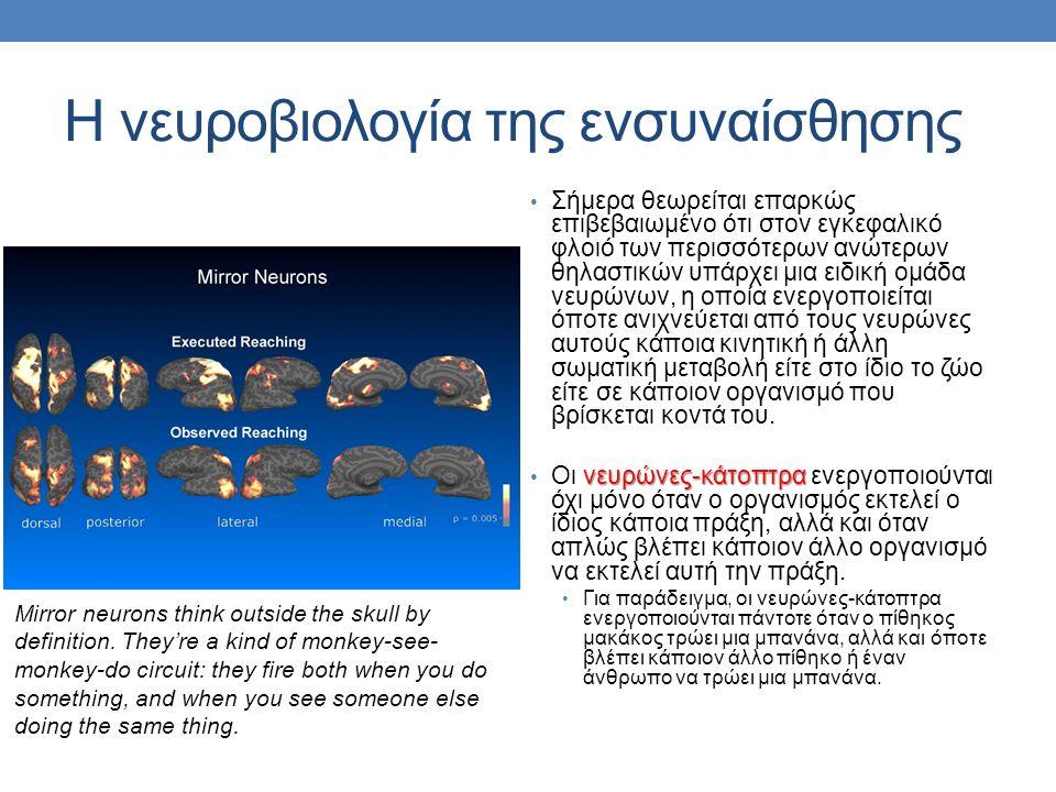 Η νευροβιολογία της ενσυναίσθησης Σήμερα θεωρείται επαρκώς επιβεβαιωμένο ότι στον εγκεφαλικό φλοιό των περισσότερων ανώτερων θηλαστικών υπάρχει μια ειδική ομάδα νευρώνων, η οποία ενεργοποιείται όποτε ανιχνεύεται από τους νευρώνες αυτούς κάποια κινητική ή άλλη σωματική μεταβολή είτε στο ίδιο το ζώο είτε σε κάποιον οργανισμό που βρίσκεται κοντά του.