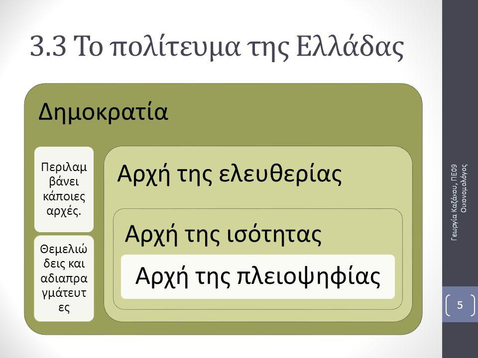 Δημοκρατία Περιλαμ βάνει κάποιες αρχές. Θεμελιώ δεις και αδιαπρα γμάτευτ ες Αρχή της ελευθερίας Αρχή της ισότητας Αρχή της πλειοψηφίας Γεωργία Καζάκου