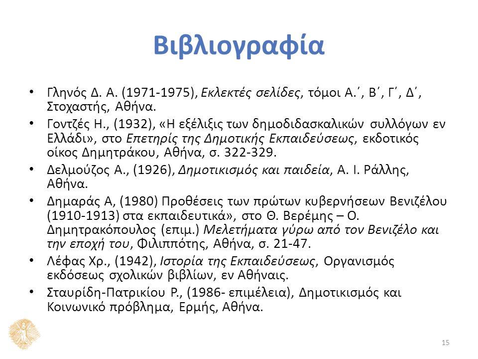 Βιβλιογραφία Γληνός Δ.Α. (1971-1975), Εκλεκτές σελίδες, τόμοι Α.΄, B΄, Γ΄, Δ΄, Στοχαστής, Αθήνα.