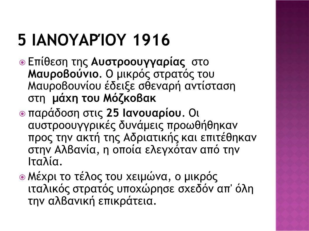 5 ΙΑΝΟΥΑΡΊΟΥ 1916  Επίθεση της Αυστροουγγαρίας στο Μαυροβούνιο. Ο μικρός στρατός του Μαυροβουνίου έδειξε σθεναρή αντίσταση στη μάχη του Μόζκοβακ  πα