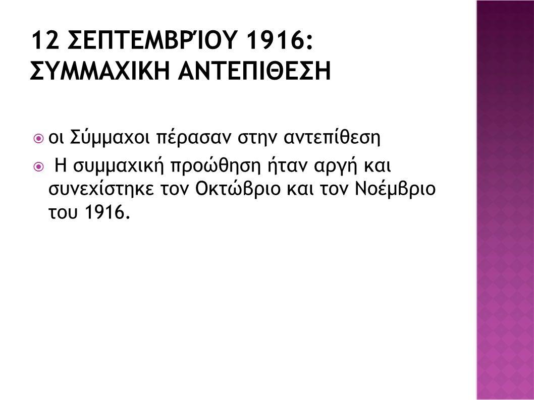12 ΣΕΠΤΕΜΒΡΊΟΥ 1916: ΣΥΜΜΑΧΙΚΗ ΑΝΤΕΠΙΘΕΣΗ  οι Σύμμαχοι πέρασαν στην αντεπίθεση  Η συμμαχική προώθηση ήταν αργή και συνεχίστηκε τον Οκτώβριο και τον Νοέμβριο του 1916.