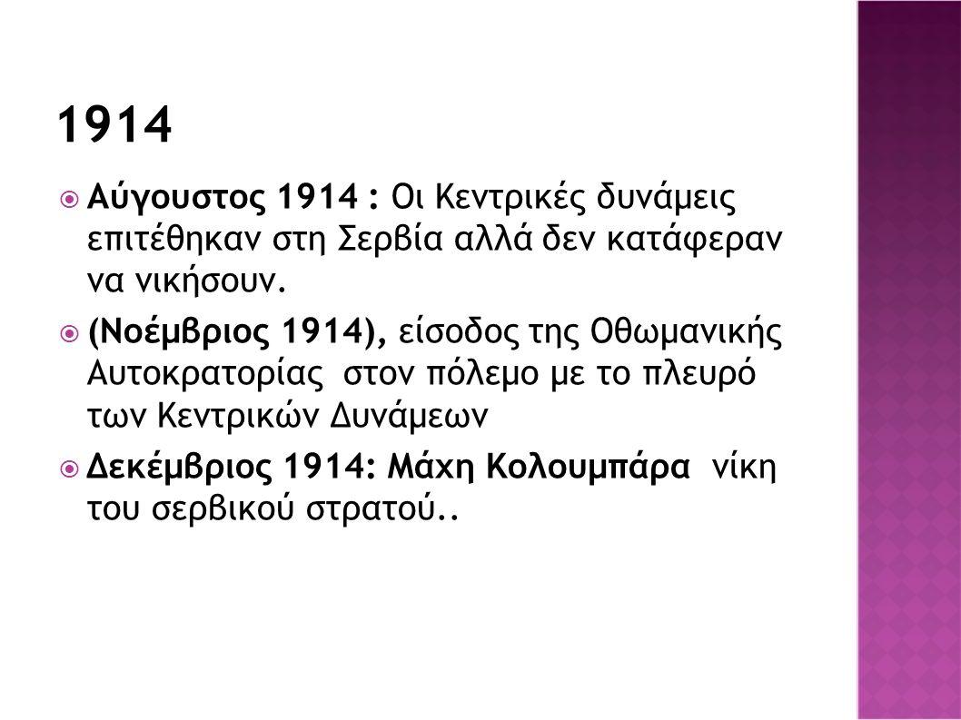 1914  Αύγουστος 1914 : Οι Κεντρικές δυνάμεις επιτέθηκαν στη Σερβία αλλά δεν κατάφεραν να νικήσουν.  (Νοέμβριος 1914), είσοδος της Οθωμανικής Αυτοκρα
