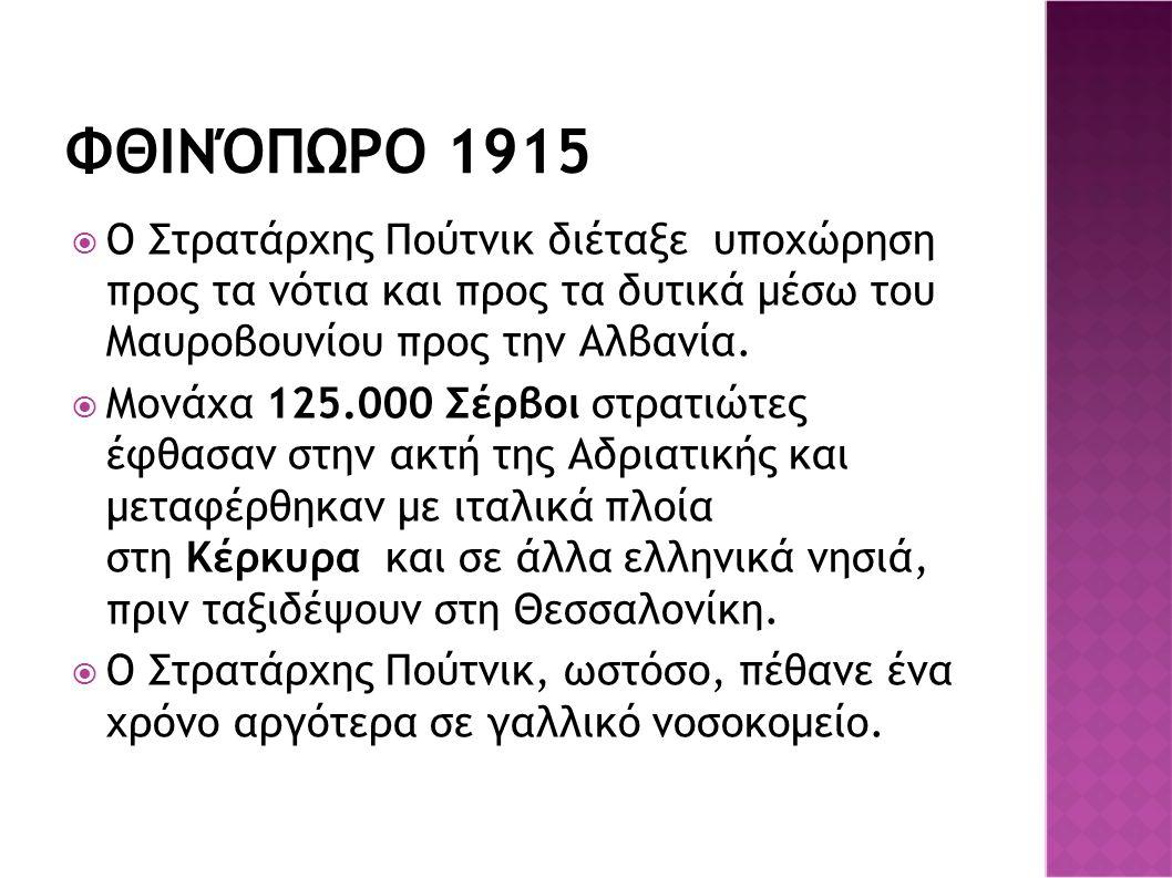 ΦΘΙΝΌΠΩΡΟ 1915  Ο Στρατάρχης Πούτνικ διέταξε υποχώρηση προς τα νότια και προς τα δυτικά μέσω του Μαυροβουνίου προς την Αλβανία.  Μονάχα 125.000 Σέρβ