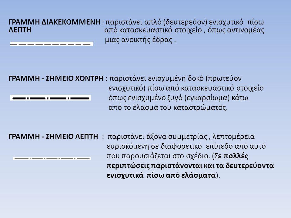 ΓΡΑΜΜΗ ΔΙΑΚΕΚΟΜΜΕΝΗ : παριστάνει απλό (δευτερεύον) ενισχυτικό πίσω ΛΕΠΤΗ από κατασκευαστικό στοιχείο, όπως αντινομέας μιας ανοικτής έδρας. ΓΡΑΜΜΗ - ΣΗ