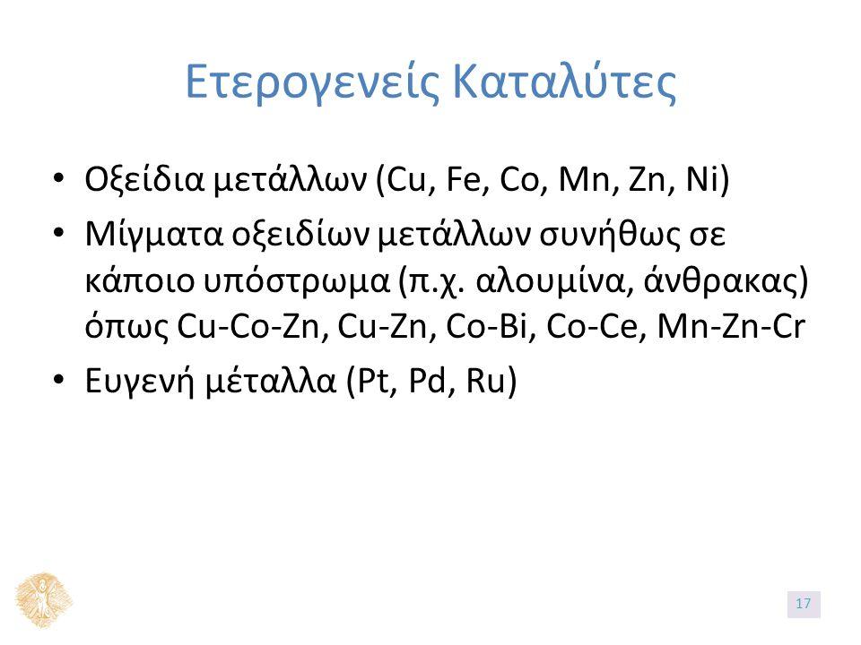 Ετερογενείς Καταλύτες Οξείδια μετάλλων (Cu, Fe, Co, Mn, Zn, Ni) Μίγματα οξειδίων μετάλλων συνήθως σε κάποιο υπόστρωμα (π.χ.