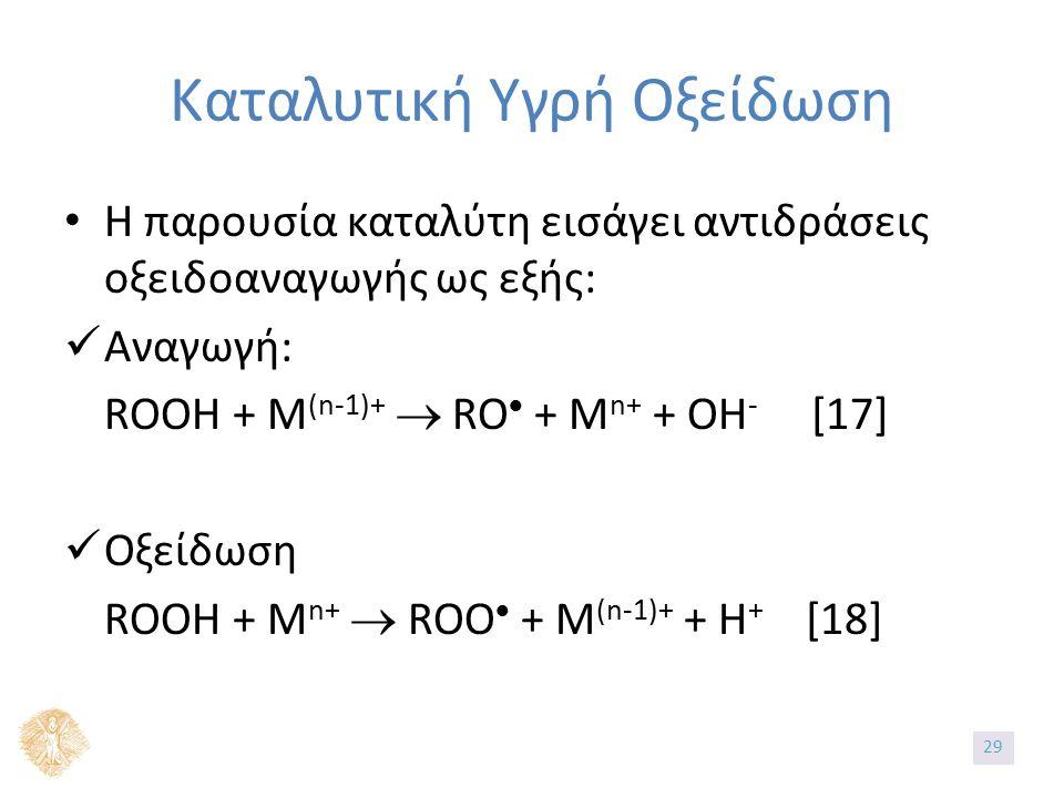Καταλυτική Υγρή Οξείδωση Η παρουσία καταλύτη εισάγει αντιδράσεις οξειδοαναγωγής ως εξής: Αναγωγή: ROOH + M (n-1)+  RO  + M n+ + OH - [17] Οξείδωση ROOH + M n+  ROO  + M (n-1)+ + H + [18] 29