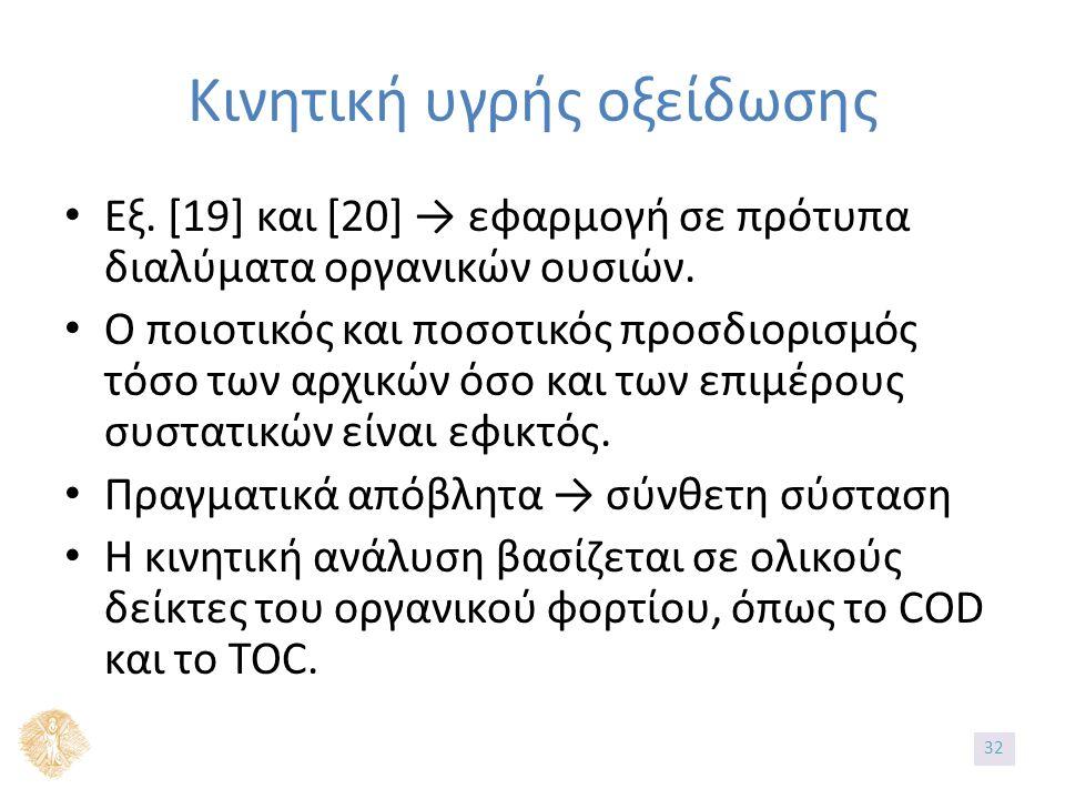 Εξ. [19] και [20] → εφαρμογή σε πρότυπα διαλύματα οργανικών ουσιών.