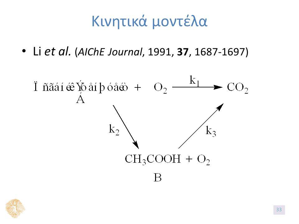 Κινητικά μοντέλα Li et al. (AIChE Journal, 1991, 37, 1687-1697) 33