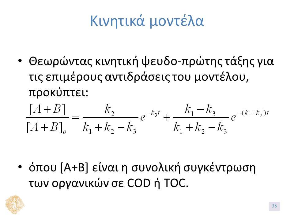 Θεωρώντας κινητική ψευδο-πρώτης τάξης για τις επιμέρους αντιδράσεις του μοντέλου, προκύπτει: όπου [Α+Β] είναι η συνολική συγκέντρωση των οργανικών σε COD ή TOC.