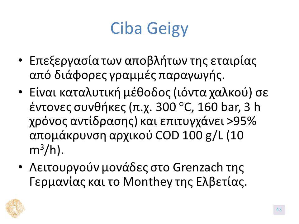 Ciba Geigy Επεξεργασία των αποβλήτων της εταιρίας από διάφορες γραμμές παραγωγής.