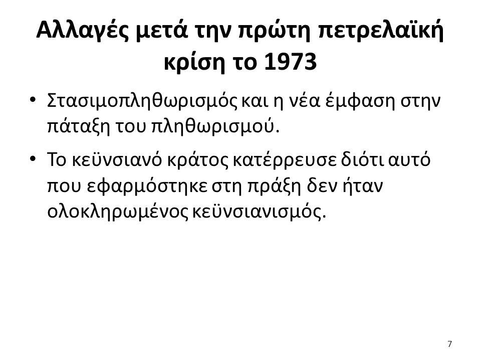 Αλλαγές μετά την πρώτη πετρελαϊκή κρίση το 1973 Στασιμοπληθωρισμός και η νέα έμφαση στην πάταξη του πληθωρισμού. Το κεϋνσιανό κράτος κατέρρευσε διότι