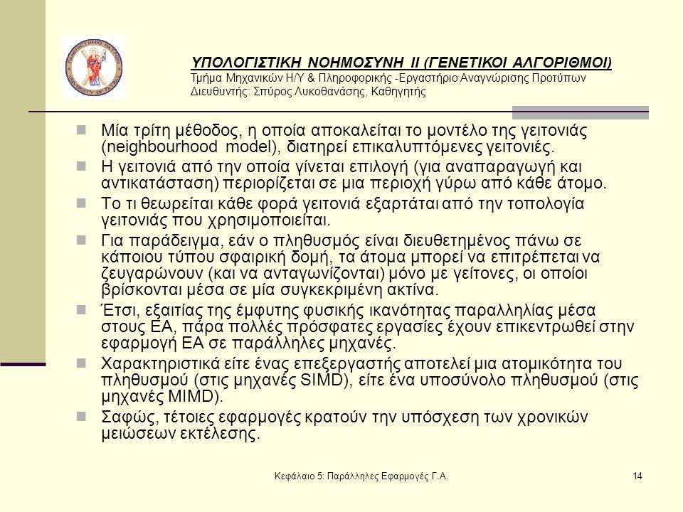 ΥΠΟΛΟΓΙΣΤΙΚΗ ΝΟΗΜΟΣΥΝΗ ΙΙ (ΓΕΝΕΤΙΚΟΙ ΑΛΓΟΡΙΘΜΟΙ) Τμήμα Μηχανικών Η/Υ & Πληροφορικής -Εργαστήριο Αναγνώρισης Προτύπων Διευθυντής: Σπύρος Λυκοθανάσης, Καθηγητής Κεφάλαιο 5: Παράλληλες Εφαρμογές Γ.Α.14 Μία τρίτη μέθοδος, η οποία αποκαλείται το μοντέλο της γειτονιάς (neighbourhood model), διατηρεί επικαλυπτόμενες γειτονιές.