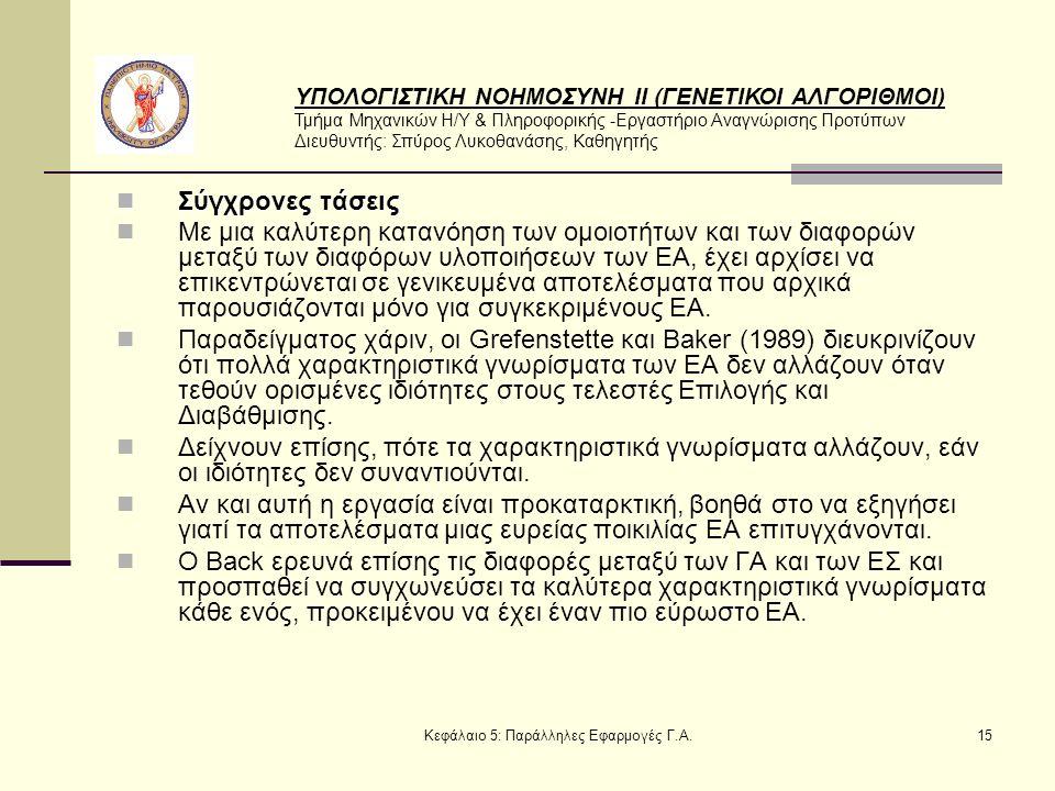 ΥΠΟΛΟΓΙΣΤΙΚΗ ΝΟΗΜΟΣΥΝΗ ΙΙ (ΓΕΝΕΤΙΚΟΙ ΑΛΓΟΡΙΘΜΟΙ) Τμήμα Μηχανικών Η/Υ & Πληροφορικής -Εργαστήριο Αναγνώρισης Προτύπων Διευθυντής: Σπύρος Λυκοθανάσης, Καθηγητής Κεφάλαιο 5: Παράλληλες Εφαρμογές Γ.Α.15