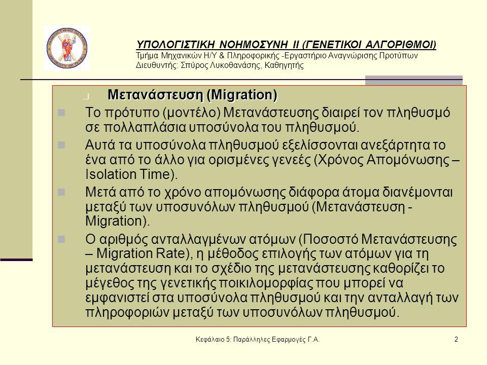 ΥΠΟΛΟΓΙΣΤΙΚΗ ΝΟΗΜΟΣΥΝΗ ΙΙ (ΓΕΝΕΤΙΚΟΙ ΑΛΓΟΡΙΘΜΟΙ) Τμήμα Μηχανικών Η/Υ & Πληροφορικής -Εργαστήριο Αναγνώρισης Προτύπων Διευθυντής: Σπύρος Λυκοθανάσης, Καθηγητής Κεφάλαιο 5: Παράλληλες Εφαρμογές Γ.Α.2 Μετανάστευση (Migration) Μετανάστευση (Migration) Το πρότυπο (μοντέλο) Μετανάστευσης διαιρεί τον πληθυσμό σε πολλαπλάσια υποσύνολα του πληθυσμού.