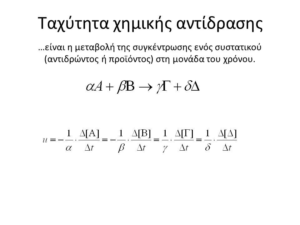Ταχύτητα χημικής αντίδρασης …είναι η μεταβολή της συγκέντρωσης ενός συστατικού (αντιδρώντος ή προϊόντος) στη μονάδα του χρόνου.