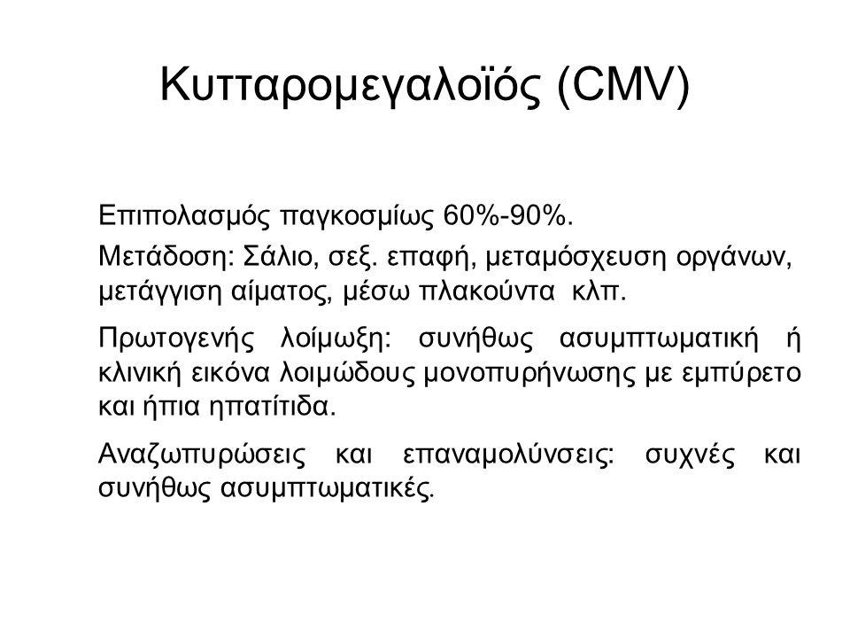 Κυτταρομεγαλοϊός (CMV) Επιπολασμός παγκοσμίως 60%-90%.