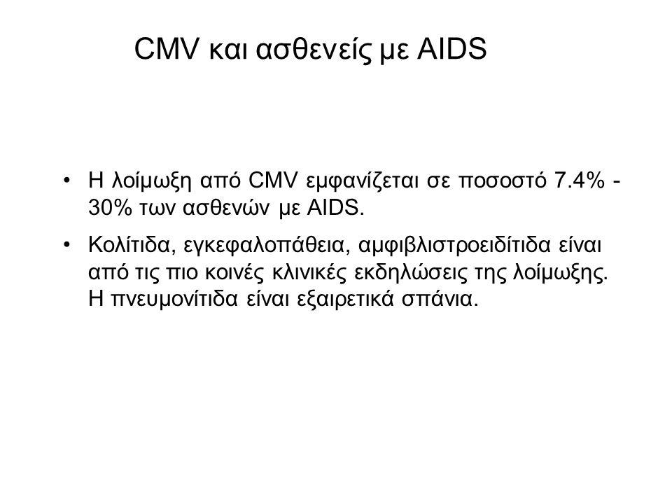 CMV και ασθενείς με AIDS Η λοίμωξη από CMV εμφανίζεται σε ποσοστό 7.4% - 30% των ασθενών με AIDS.