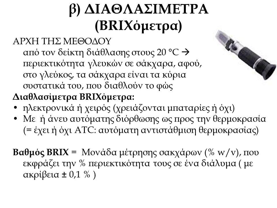β) ΔΙΑΘΛΑΣΙΜΕΤΡΑ (BRIXόμετρα) ΑΡΧΗ ΤΗΣ ΜΕΘΟΔΟΥ από τον δείκτη διάθλασης στους 20 °C  περιεκτικότητα γλευκών σε σάκχαρα, αφού, στο γλεύκος, τα σάκχαρα