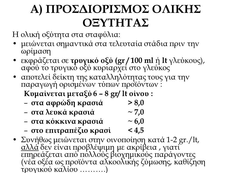 Α) ΠΡΟΣΔΙΟΡΙΣΜΟΣ ΟΛΙΚΗΣ ΟΞΥΤΗΤΑΣ Η ολική οξύτητα στα σταφύλια: μειώνεται σημαντικά στα τελευταία στάδια πριν την ωρίμαση εκφράζεται σε τρυγικό οξύ (gr