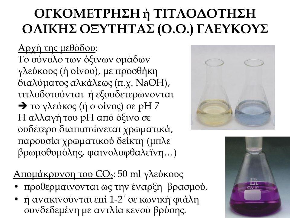 ΟΓΚΟΜΕΤΡΗΣΗ ή ΤΙΤΛΟΔΟΤΗΣΗ ΟΛΙΚΗΣ ΟΞΥΤΗΤΑΣ (Ο.Ο.) ΓΛΕΥΚΟΥΣ Απομάκρυνση του CO 2 : 50 ml γλεύκους προθερμαίνονται ως την έναρξη βρασμού, ή ανακινούνται