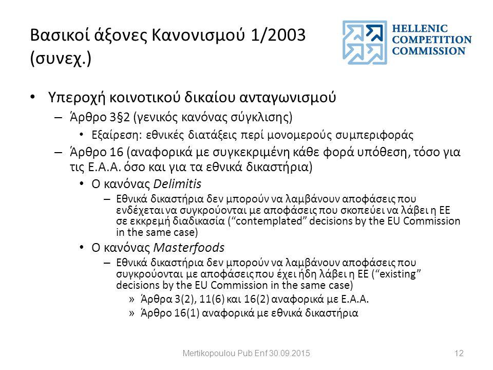 Βασικοί άξονες Κανονισμού 1/2003 (συνεχ.) Υπεροχή κοινοτικού δικαίου ανταγωνισμού – Άρθρο 3§2 (γενικός κανόνας σύγκλισης) Εξαίρεση: εθνικές διατάξεις περί μονομερούς συμπεριφοράς – Άρθρο 16 (αναφορικά με συγκεκριμένη κάθε φορά υπόθεση, τόσο για τις Ε.Α.Α.