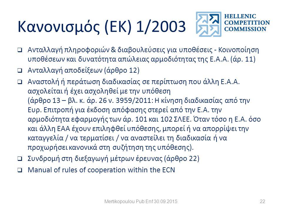 Κανονισμός (ΕΚ) 1/2003  Ανταλλαγή πληροφοριών & διαβουλεύσεις για υποθέσεις - Κοινοποίηση υποθέσεων και δυνατότητα απώλειας αρμοδιότητας της Ε.Α.Α.