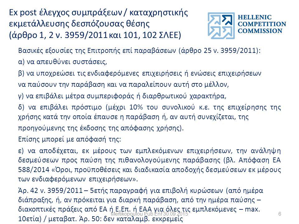 Ex post έλεγχος συμπράξεων / καταχρηστικής εκμετάλλευσης δεσπόζουσας θέσης (άρθρο 1, 2 ν.