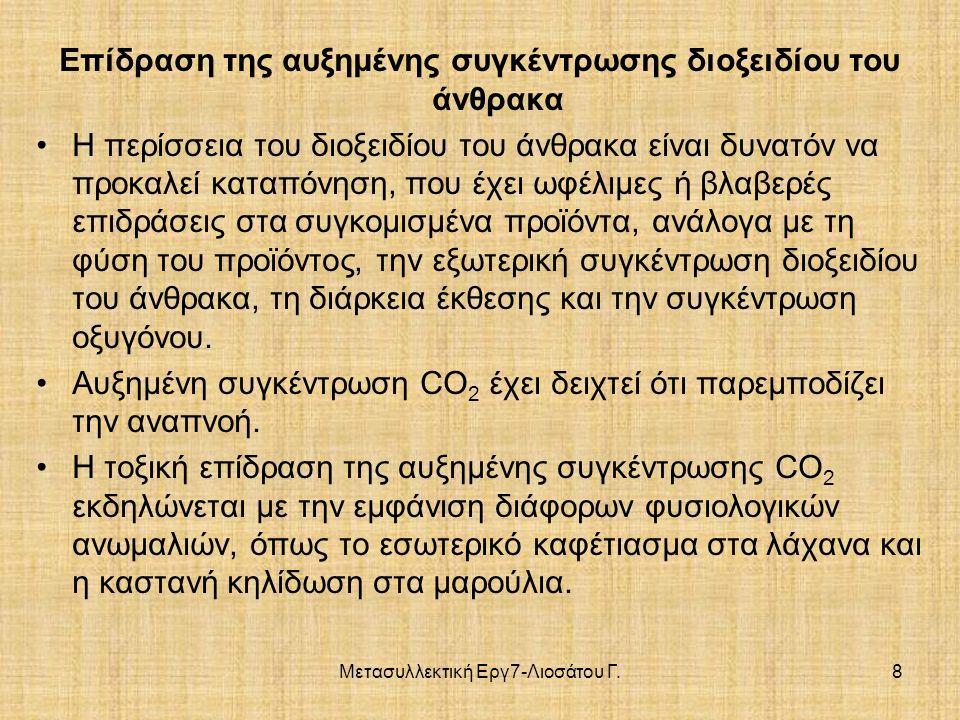 Μετασυλλεκτική Εργ7-Λιοσάτου Γ.8 Επίδραση της αυξημένης συγκέντρωσης διοξειδίου του άνθρακα Η περίσσεια του διοξειδίου του άνθρακα είναι δυνατόν να προκαλεί καταπόνηση, που έχει ωφέλιμες ή βλαβερές επιδράσεις στα συγκομισμένα προϊόντα, ανάλογα με τη φύση του προϊόντος, την εξωτερική συγκέντρωση διοξειδίου του άνθρακα, τη διάρκεια έκθεσης και την συγκέντρωση οξυγόνου.