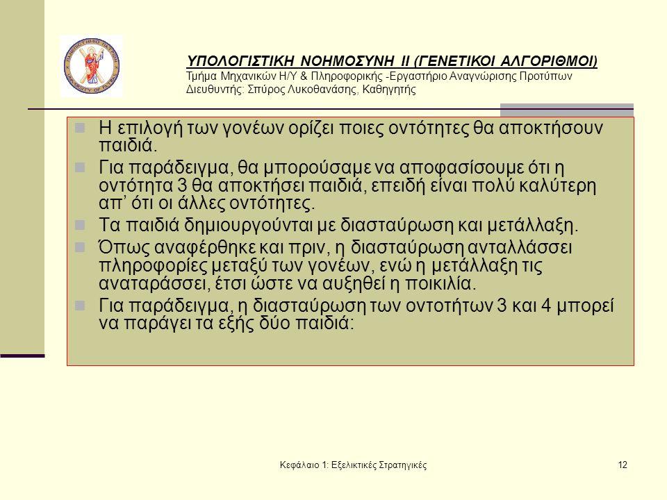 ΥΠΟΛΟΓΙΣΤΙΚΗ ΝΟΗΜΟΣΥΝΗ ΙΙ (ΓΕΝΕΤΙΚΟΙ ΑΛΓΟΡΙΘΜΟΙ) Τμήμα Μηχανικών Η/Υ & Πληροφορικής -Εργαστήριο Αναγνώρισης Προτύπων Διευθυντής: Σπύρος Λυκοθανάσης, Καθηγητής Κεφάλαιο 1: Εξελικτικές Στρατηγικές12 Η επιλογή των γονέων ορίζει ποιες οντότητες θα αποκτήσουν παιδιά.
