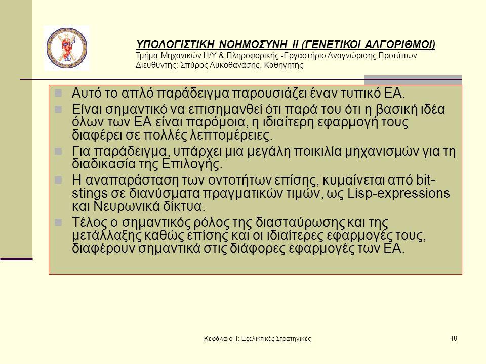 ΥΠΟΛΟΓΙΣΤΙΚΗ ΝΟΗΜΟΣΥΝΗ ΙΙ (ΓΕΝΕΤΙΚΟΙ ΑΛΓΟΡΙΘΜΟΙ) Τμήμα Μηχανικών Η/Υ & Πληροφορικής -Εργαστήριο Αναγνώρισης Προτύπων Διευθυντής: Σπύρος Λυκοθανάσης, Καθηγητής Κεφάλαιο 1: Εξελικτικές Στρατηγικές18 Αυτό το απλό παράδειγμα παρουσιάζει έναν τυπικό ΕΑ.