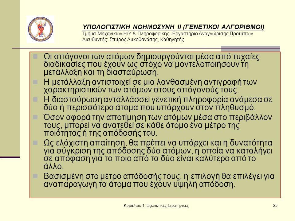 ΥΠΟΛΟΓΙΣΤΙΚΗ ΝΟΗΜΟΣΥΝΗ ΙΙ (ΓΕΝΕΤΙΚΟΙ ΑΛΓΟΡΙΘΜΟΙ) Τμήμα Μηχανικών Η/Υ & Πληροφορικής -Εργαστήριο Αναγνώρισης Προτύπων Διευθυντής: Σπύρος Λυκοθανάσης, Καθηγητής Κεφάλαιο 1: Εξελικτικές Στρατηγικές25 Οι απόγονοι των ατόμων δημιουργούνται μέσα από τυχαίες διαδικασίες που έχουν ως στόχο να μοντελοποιήσουν τη μετάλλαξη και τη διασταύρωση.