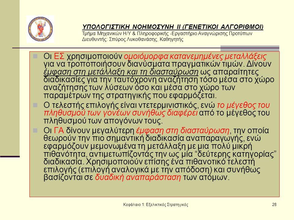 ΥΠΟΛΟΓΙΣΤΙΚΗ ΝΟΗΜΟΣΥΝΗ ΙΙ (ΓΕΝΕΤΙΚΟΙ ΑΛΓΟΡΙΘΜΟΙ) Τμήμα Μηχανικών Η/Υ & Πληροφορικής -Εργαστήριο Αναγνώρισης Προτύπων Διευθυντής: Σπύρος Λυκοθανάσης, Καθηγητής Κεφάλαιο 1: Εξελικτικές Στρατηγικές28 Οι ΕΣ χρησιμοποιούν ομοιόμορφα κατανεμημένες μεταλλάξεις για να τροποποιήσουν διανύσματα πραγματικών τιμών.