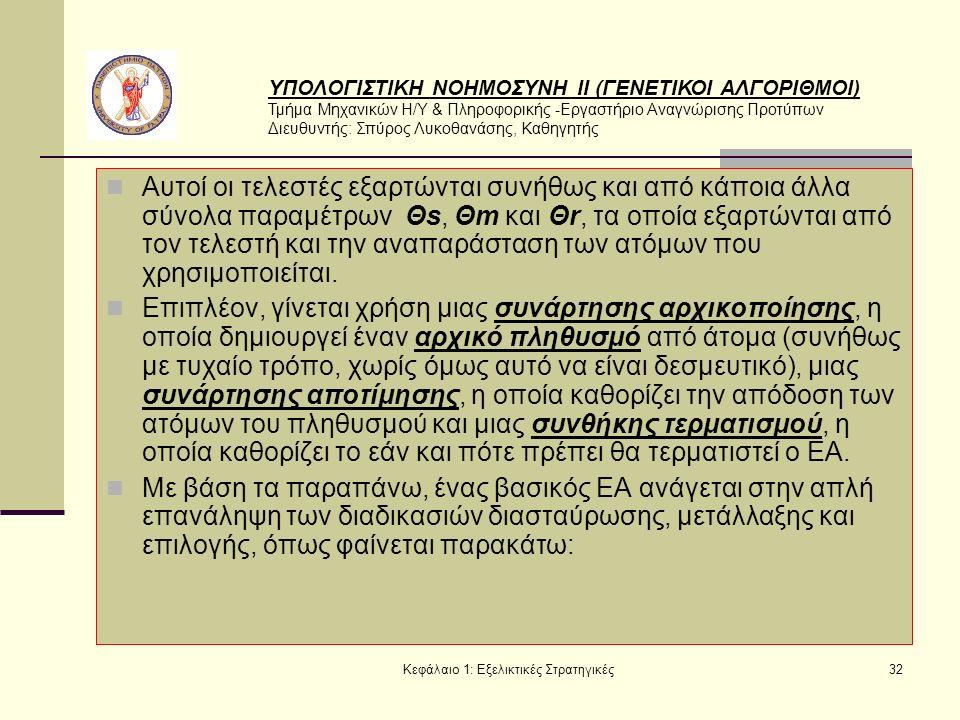 ΥΠΟΛΟΓΙΣΤΙΚΗ ΝΟΗΜΟΣΥΝΗ ΙΙ (ΓΕΝΕΤΙΚΟΙ ΑΛΓΟΡΙΘΜΟΙ) Τμήμα Μηχανικών Η/Υ & Πληροφορικής -Εργαστήριο Αναγνώρισης Προτύπων Διευθυντής: Σπύρος Λυκοθανάσης, Καθηγητής Κεφάλαιο 1: Εξελικτικές Στρατηγικές32 Αυτοί οι τελεστές εξαρτώνται συνήθως και από κάποια άλλα σύνολα παραμέτρων Θs, Θm και Θr, τα οποία εξαρτώνται από τον τελεστή και την αναπαράσταση των ατόμων που χρησιμοποιείται.