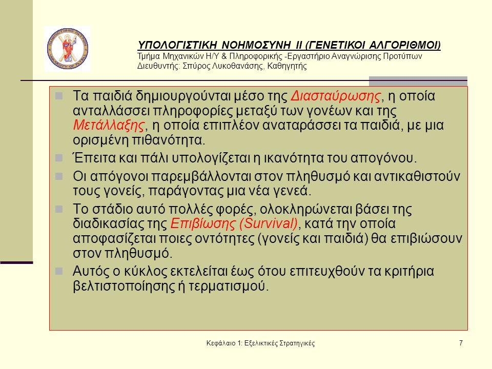 ΥΠΟΛΟΓΙΣΤΙΚΗ ΝΟΗΜΟΣΥΝΗ ΙΙ (ΓΕΝΕΤΙΚΟΙ ΑΛΓΟΡΙΘΜΟΙ) Τμήμα Μηχανικών Η/Υ & Πληροφορικής -Εργαστήριο Αναγνώρισης Προτύπων Διευθυντής: Σπύρος Λυκοθανάσης, Καθηγητής Κεφάλαιο 1: Εξελικτικές Στρατηγικές7 Τα παιδιά δημιουργούνται μέσο της Διασταύρωσης, η οποία ανταλλάσσει πληροφορίες μεταξύ των γονέων και της Μετάλλαξης, η οποία επιπλέον αναταράσσει τα παιδιά, με μια ορισμένη πιθανότητα.