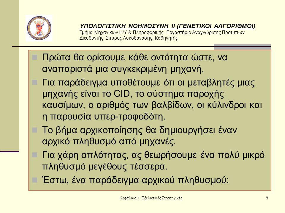 ΥΠΟΛΟΓΙΣΤΙΚΗ ΝΟΗΜΟΣΥΝΗ ΙΙ (ΓΕΝΕΤΙΚΟΙ ΑΛΓΟΡΙΘΜΟΙ) Τμήμα Μηχανικών Η/Υ & Πληροφορικής -Εργαστήριο Αναγνώρισης Προτύπων Διευθυντής: Σπύρος Λυκοθανάσης, Καθηγητής Κεφάλαιο 1: Εξελικτικές Στρατηγικές30 Ορίζουμε αρχικά με το σύμβολο I έναν τυχαίο χώρο από άτομα α , και με F: Ι -> R μία, πραγματικής τιμής, συνάρτηση απόδοσης για τα άτομα αυτά.