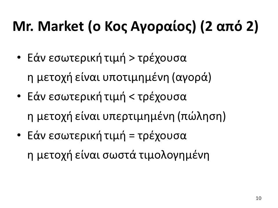 Mr. Market (ο Κος Αγοραίος) (2 από 2) Εάν εσωτερική τιμή > τρέχουσα η μετοχή είναι υποτιμημένη (αγορά) Εάν εσωτερική τιμή < τρέχουσα η μετοχή είναι υπ