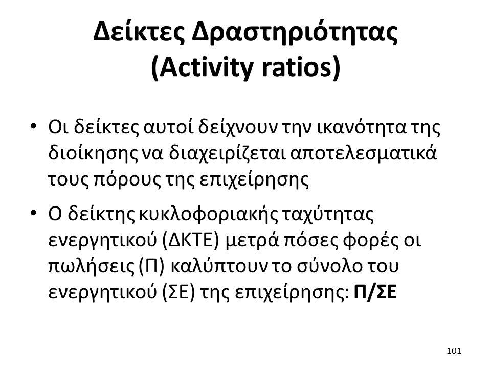 Δείκτες Δραστηριότητας (Activity ratios) Οι δείκτες αυτοί δείχνουν την ικανότητα της διοίκησης να διαχειρίζεται αποτελεσματικά τους πόρους της επιχείρησης Ο δείκτης κυκλοφοριακής ταχύτητας ενεργητικού (ΔΚΤΕ) μετρά πόσες φορές οι πωλήσεις (Π) καλύπτουν το σύνολο του ενεργητικού (ΣΕ) της επιχείρησης: Π/ΣΕ 101
