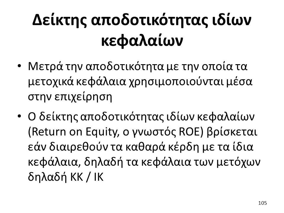 Δείκτης αποδοτικότητας ιδίων κεφαλαίων Μετρά την αποδοτικότητα με την οποία τα μετοχικά κεφάλαια χρησιμοποιούνται μέσα στην επιχείρηση Ο δείκτης αποδοτικότητας ιδίων κεφαλαίων (Return on Equity, ο γνωστός ROE) βρίσκεται εάν διαιρεθούν τα καθαρά κέρδη με τα ίδια κεφάλαια, δηλαδή τα κεφάλαια των μετόχων δηλαδή ΚΚ / ΙΚ 105
