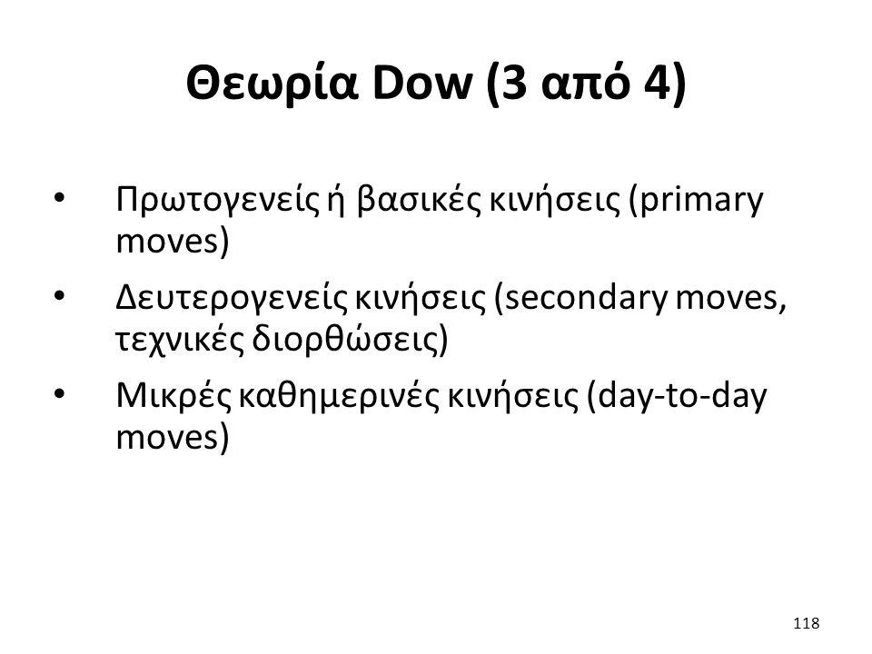 Θεωρία Dow (3 από 4) Πρωτογενείς ή βασικές κινήσεις (primary moves) Δευτερογενείς κινήσεις (secondary moves, τεχνικές διορθώσεις) Μικρές καθημερινές κινήσεις (day-to-day moves) 118