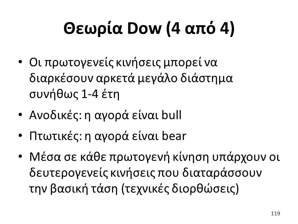 Θεωρία Dow (4 από 4) Οι πρωτογενείς κινήσεις μπορεί να διαρκέσουν αρκετά μεγάλο διάστημα συνήθως 1-4 έτη Ανοδικές: η αγορά είναι bull Πτωτικές: η αγορά είναι bear Μέσα σε κάθε πρωτογενή κίνηση υπάρχουν οι δευτερογενείς κινήσεις που διαταράσσουν την βασική τάση (τεχνικές διορθώσεις) 119