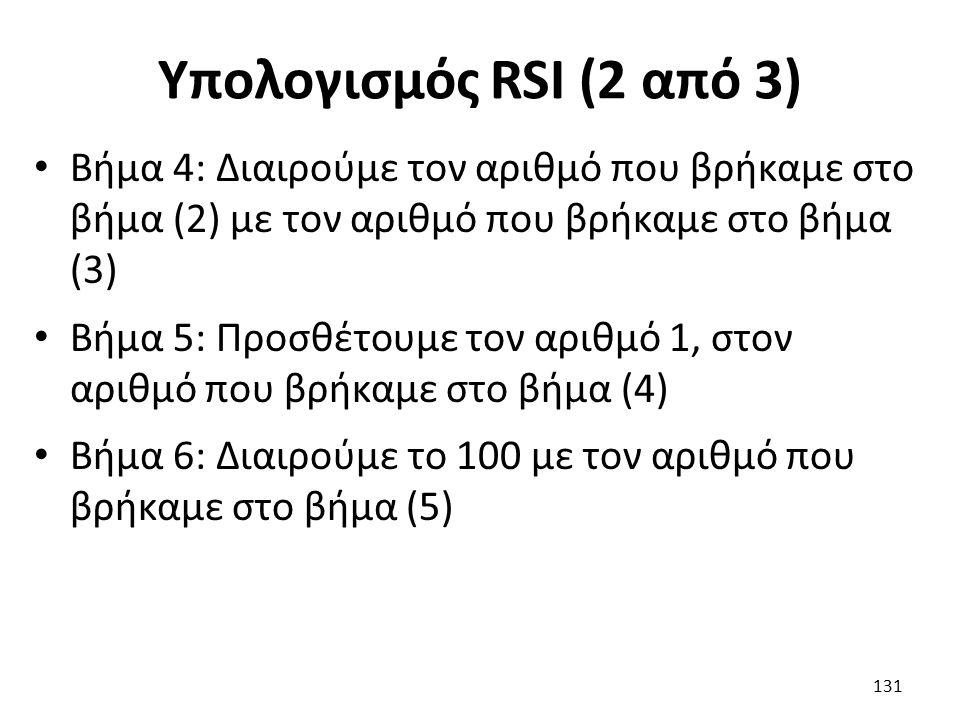 Υπολογισμός RSI (2 από 3) Βήμα 4: Διαιρούμε τον αριθμό που βρήκαμε στο βήμα (2) με τον αριθμό που βρήκαμε στο βήμα (3) Βήμα 5: Προσθέτουμε τον αριθμό 1, στον αριθμό που βρήκαμε στο βήμα (4) Βήμα 6: Διαιρούμε το 100 με τον αριθμό που βρήκαμε στο βήμα (5) 131