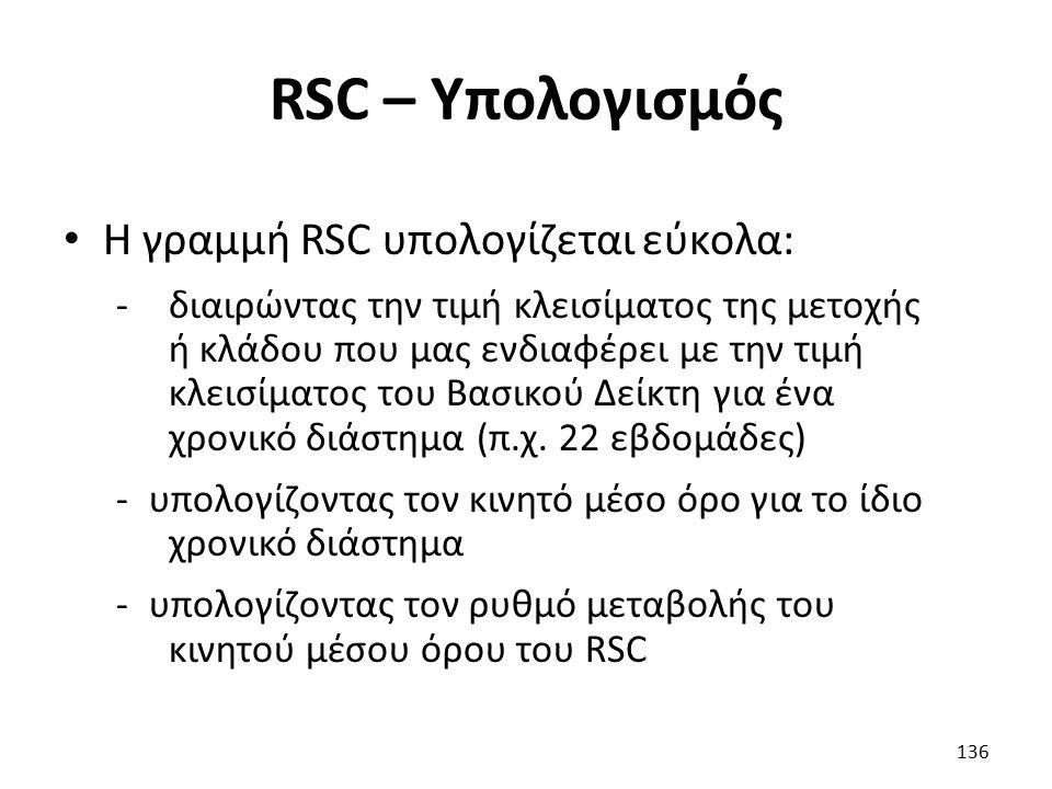 RSC – Υπολογισμός Η γραμμή RSC υπολογίζεται εύκολα: -διαιρώντας την τιμή κλεισίματος της μετοχής ή κλάδου που μας ενδιαφέρει με την τιμή κλεισίματος του Βασικού Δείκτη για ένα χρονικό διάστημα (π.χ.