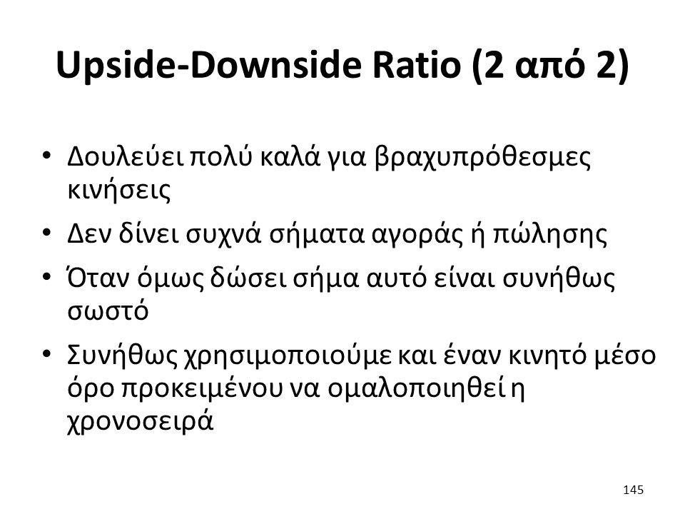 Upside-Downside Ratio (2 από 2) Δουλεύει πολύ καλά για βραχυπρόθεσμες κινήσεις Δεν δίνει συχνά σήματα αγοράς ή πώλησης Όταν όμως δώσει σήμα αυτό είναι συνήθως σωστό Συνήθως χρησιμοποιούμε και έναν κινητό μέσο όρο προκειμένου να ομαλοποιηθεί η χρονοσειρά 145